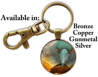 Steampunk Raven Keyring, Raven with Book Keyring, Raven Key Ring, Unisex Gift, Photo Key Ring, Custom Photo Keyring