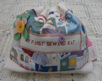 My first  sewing kit / a fun starter set for crafty kids /  in Vintage Montage/kids first sewing kit/starter set for sewing/needle-craft/
