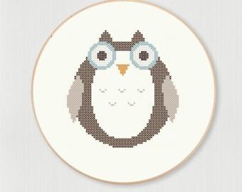 Cross stitch letter O Owl pattern, instant digital download