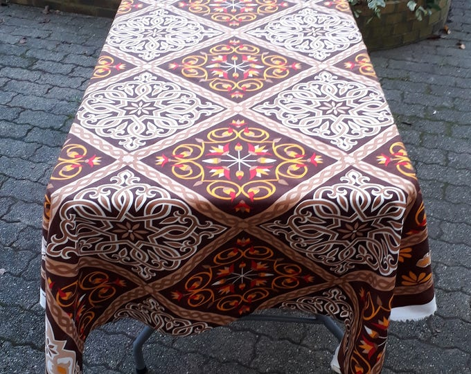 Or for rustic home simple Bohemian tablecloth. Egyptian motifs. Square and different lengths. Ideal for outdoor table cover
