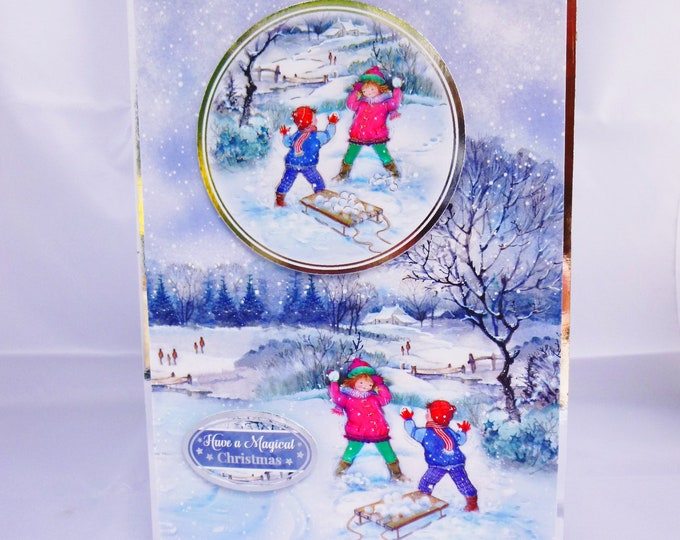 Festive Card, Christmas Greeting Card, Winter Snow Scene, Children Playing In The Snow, Magical Christmas Time