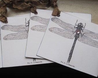 vintage dragonfly tags set of 4