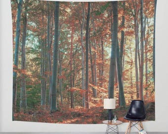 wall tapestry, oversized wall art, forest tree tapestry wall tapestry, nature tapestry, red tapestry, forest, red, zen