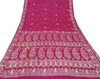Embroidered  Vintage Indian Saree Pure Silk Fabric Deco Craft Women Dress Wrap Curtain Drape  Used Magenta Sari