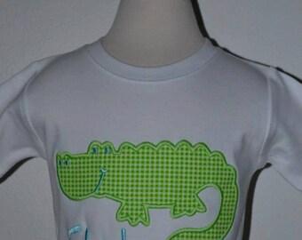 Personalized Alligator Gator Swamp Applique Shirt or Bodysuit Boy or Girl