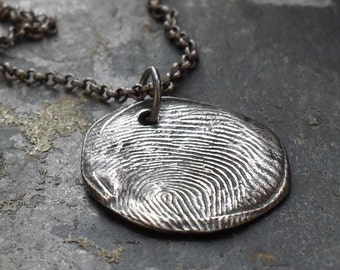Round Thumbprint Fine Silver Pendant on Sterling Silver Chain