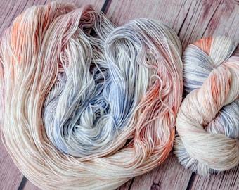Hand Dyed Superwash Merino Wool  4 ply  smokey purple yarn sock wool Colorway: brown 100g (3.5 oz)
