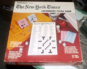 Vintage (c.1985) The New York Times Crossword Puzzle Game by Waddingtons. 99% Complete. EXCELLENT! condition. Made in Canada.