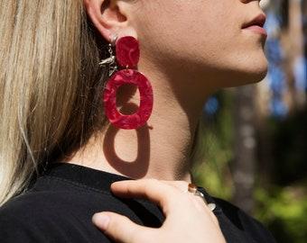 Vintage Style Red Resin Hoop Drop Statement Earrings