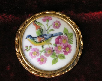French cute hand painted on porcelain bird brooch