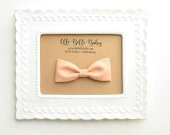 Gold Sparkle Peach Bow Tie - Baby Bowtie - Ring Bearer Tie - Wedding Bow tie - Toddler Bow tie - Clip on Bowtie