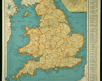 England map england vintage wales map 1950s original 1953 england map england vintage wales united kingdom 1930s gumiabroncs Images