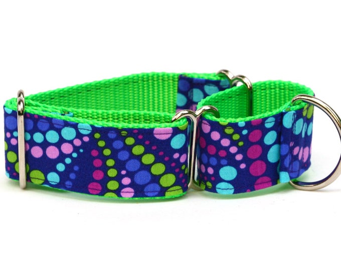 "Whippet Dog Collar - Grape Soda Polka Dots - 1.5"" Martingale Dog Collar"