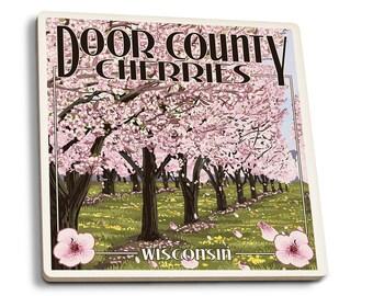 Door County, WI - Cherry Blossoms - LP Artwork (Set of 4 Ceramic Coasters)