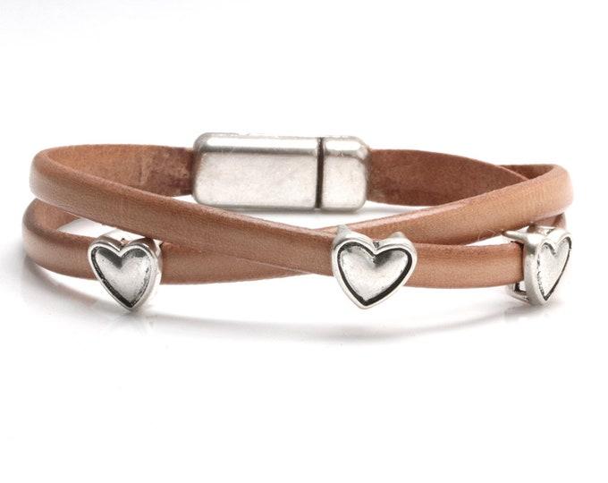 Hearts Bracelet, Hearts Bracelet Leather, Feminine Leather Bracelet, Mother's Day Gift, New Mom, Faux Wrap, Layering Bracelet, Love Bracelet