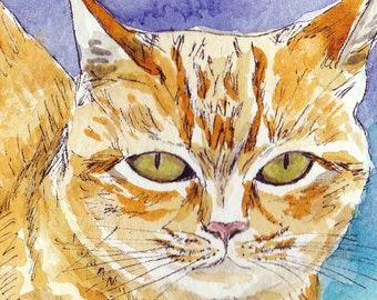 Ginger Cat, Original Cat Watercolor, Cat portrait, Cat Artwork, 8X10, Original Painting, Watercolor Cat, Orange Cat Art, Orange Tabby Cat