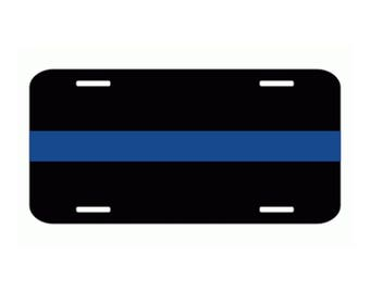 Reflective Aluminium Thin Blue Line Police Officer Law Enforcement License Plate Tag #165 Made in U.S.A.