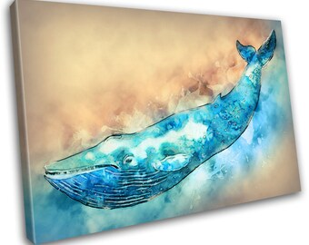 Whale Animal Abstract Canvas Print - Wall Art - Framed Print - Ready To Hang