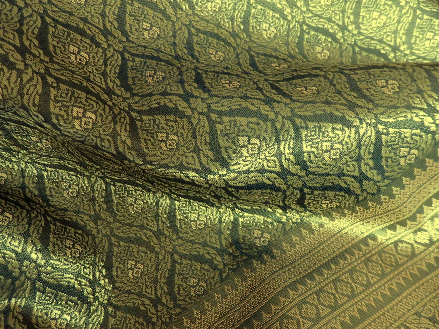 thai brocade one yard of faux silk fabric in olive green and. Black Bedroom Furniture Sets. Home Design Ideas
