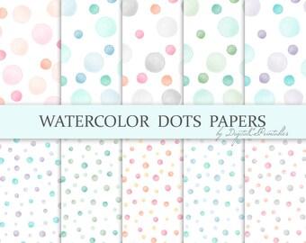 Watercolor dots digital paper Watercolor digital paper Polka dot digital paper Watercolor papers Watercolour pastel Digital scrapbook paper