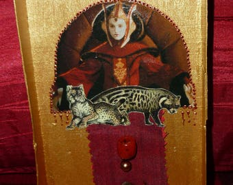 """Chalkboard """"Princess Leia"""" on media wooden box painted in gold, embellished with beads, paper, fabric collages"""