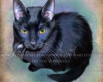 Echo...Black Cat - House Cat Study... Print - Your Choice of Size - Domestic House Cat Art Painting