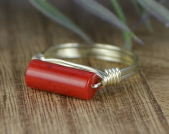 Sleek Red Coral Ring - Sterling Silver, Yellow or Rose Gold Filled Wire Wrapped Coral Stackable Ring - Any Size 4 5 6 7 8 9 10 11 12 13 14