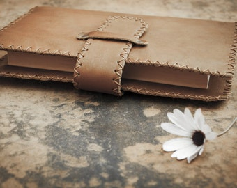 Brown soft leather hand stitched book cover, refillable composition book cover, handmade gift for him, gift for her