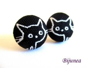 Cat earrings - Black cat stud earrings - Black cat studs - Cat posts -  Cat post earrings sf1371