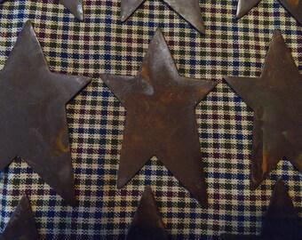 "Lot of 12 3 inch Rusty Primitive Stars 3"""