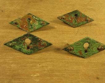 PAIR Shabby Brass Escutcheon Key Hole Plate Victorian Edwardian Vintage Antique