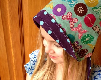 SALE Reversible Cotton and Linen Sun Bonnet for babies toddlers and children - Japanese Echino Fabrics- Insect Violet- size 3-5 years only