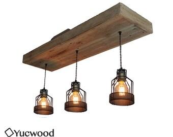"Edison pendant lamp, ""Corry Cage"", wood lighting, Bar lighting, industrial, minimalist lamp, Loft, (includes 3 Led filaments)"