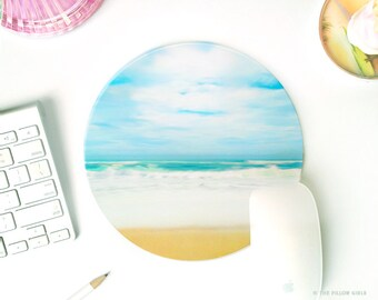mouse pad beach | mousepad beach | mousepad round | cute desk accessories