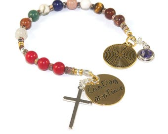 Prayer & Meditation Beads, 12 Step Recovery Anniversary Gift, Birthstone Charm