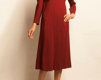 1960's couture bordeaux pleated day dress