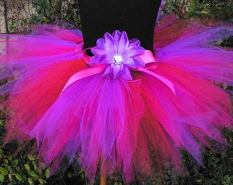 "Girls Tutu, Fuchsia Pink Purple Red Tutu, Bayberry, Custom Sewn 11"" Pixie Tutu"