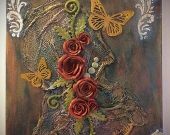 Mixed Media Wall Art, Mixed Media Canvas, Polymer Clay Mixed Media Canvas, Polymer Clay On Canvas, Mixed Media Art, Polymer Clay Art, OOAK