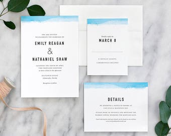 Simple Modern Wedding Invitations with Watercolor Edge Detail - Deposit Payment