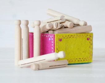"""20 Wooden Clothespins -  Vintage Wooden Clothespins - Unfinished -3-3/4"""" - Round Clothespins"""