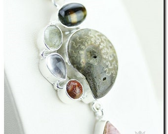 Madagascar Ammonite Rhodochrosite Coral 925 SOLID Sterling Silver Pendant + 4mm Snake Chain & FREE Worldwide Shipping P1843