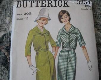 RARE Uncut, Factory Fold Vintage 60's Butterick 3254 Misses Step-In Shirt Dress Size 20 1/2  Bust 41