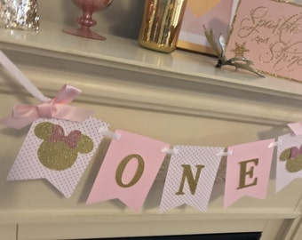 Minnie Mouse Birthday - Pink and Gold 1st Birthday - Minnie Mouse Birthday Decorations- Pink and Gold Glitter 1st Birthday
