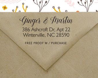 Self Inking Return Address Stamp, Calligraphy Address Stamp, Wedding Address Stamp, Modern Address Stamp, Self Inking or Wood handle  20549