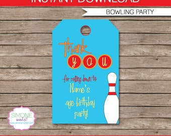 Bowling Favor Tags - Thank You Tags - Birthday Party Favors - INSTANT DOWNLOAD with EDITABLE text template - you personalize at home