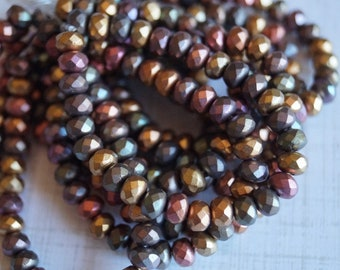 5x3mm Metallic Mix Rondelle - Faceted Rondelle Mix - Fire Polished Beads - Small Donut Beads - Bead Soup Beads