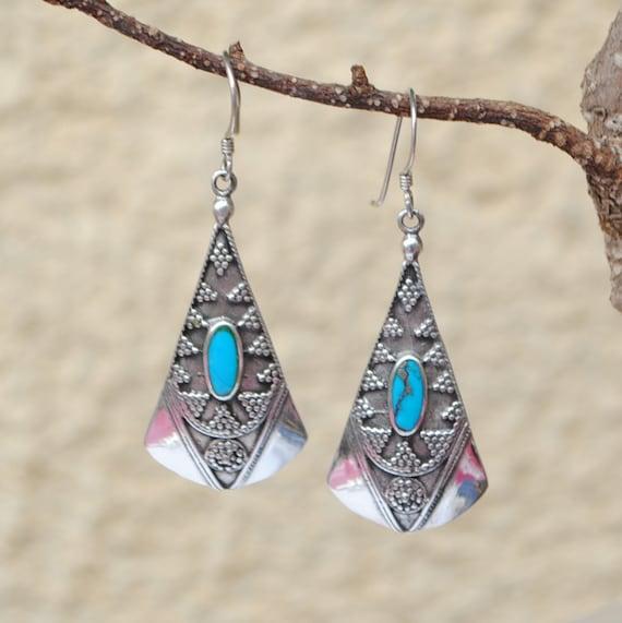 Boucles d'oreilles en turquoise et argent style bohème
