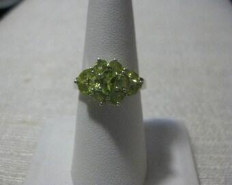 Peridot Cluster Ring Sz 8