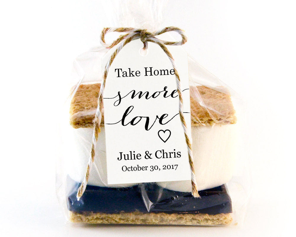 Free Printable Wedding Gift Tags Templates: Take Home S'MORE Love Tag Template S'mores Favors
