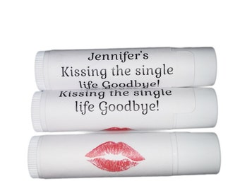 Kissing the single life goodbye party favor, Set of 24 personalized bachelorette party favor lip balm, custom chapstick label with lips